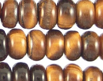 Tigerseye Semi-Precious 8mm Rondelle Beads 78543