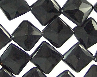 Black Onyx 14mm Faceted Diamond Square Gemstone Beads 71214