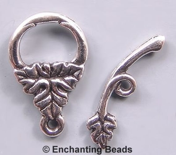 Leaf Toggle Clasps Rhodium-Plated Pewter P240 (3)
