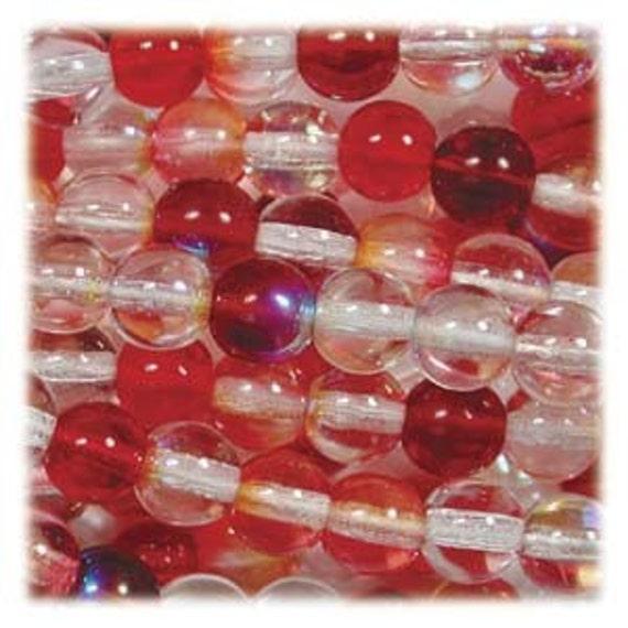 Czech Round Druk Beads 8mm Strawberry Mixture 17999