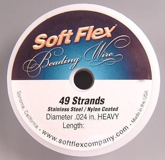 Soft Flex Beading Wire .024 inch 100 foot Satin Silver Heavy SoftFlex Wire, Flexible Wire, Round Wire, SoftFlex Jewelry Wire,  Crimp Wire