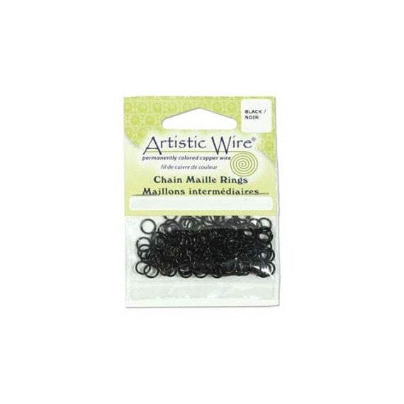 Artistic Wire Jump Rings Black 41672 18ga  ID 1/8in, OD 5.2mm for Chain Maille and Other Jewelry