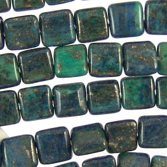 Azurite 8mm Flat Square Beads 78135