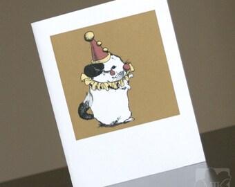 Opera Singing Clown Chinchilla - Blank Greeting Card - Size A2 - Clownchilla