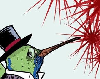 Dapper Little Spring Hummingbird 4x6 Giclee Illustration Print - Sir Hummington III