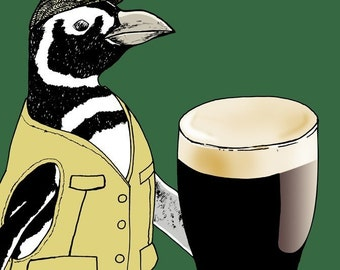 Beer Penguin, Ireland 8x10 Giclee Illustration Print - I'll Have a Pint