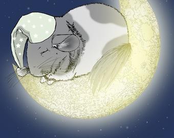 Sleeping Chinchilla on the Moon 5x7 Giclee Illustration Print