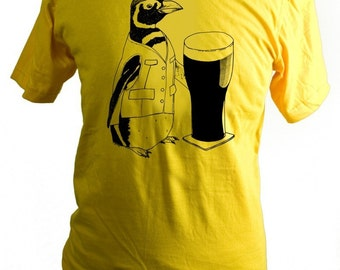 Penguin, Beer, T-Shirt, Screen Printed, Pint, Ireland, Yellow, Unisex, Men, Women - Gifts for Him or Her