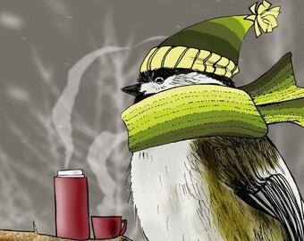 Chilladee the Chickadee, Snowstorm, Winter 4x6 Giclee Illustration Print