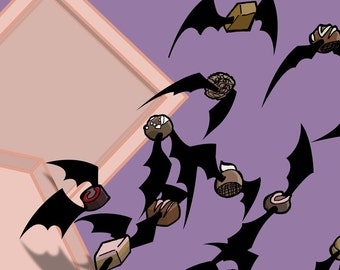 Flying Chocolate Truffle Bats 5x7 Giclee Illustration Print for Anti-Valentine's Day Gift or Halloween