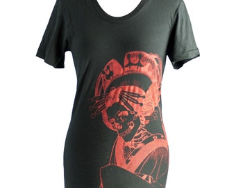 Japanese Skeleton Oiran Summer T-Shirt, Black, Screen Printed, Loose Crew - Gifts for Him or Her
