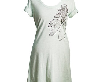 Ash Grey Seafoam Kingyo Goldfish T-Shirt Dress, Screen Printed, Crew Neck, Women - Gifts for Her