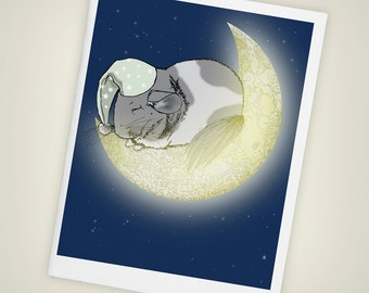 Sleeping Chinchilla, Crescent Moon Blank Greeting Card - Size A2