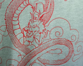 Heather Grey Japanese Dragon, Clouds Screen Printed Zip Hoodie - Gifts for Him or Her SALE