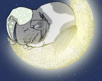Sleeping Chinchilla on the Moon - 8x10 Giclee Illustration Print - gifts under 20 dollars