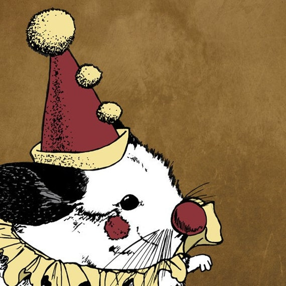 Opera Clown Chinchilla 8x8 Giclee Illustration Print - Paolo the Clownchilla, Gifts for Animal Lovers
