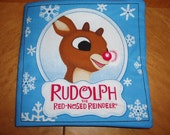 Blue Rudolph Fabric Baby Book