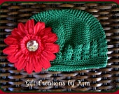 Boutique style green stretchy hat with Red rhinestone center Flower for girls babies toddlers perfect for Christmas