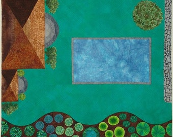 Your Home's Architectural and Landscape Plan in Fiber -  Wall Quilt