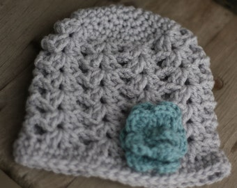 Baby crochet hat, light grey and smokey blue, size 0 to 3 mo.