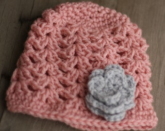 Baby crochet hat, rose and light grey, 0 to 3 mo.
