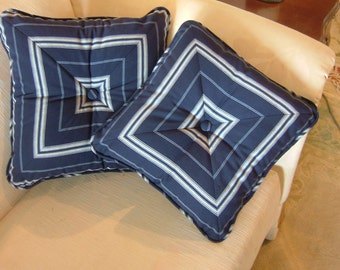 NAVY PILLOWS With a Button in the Middle