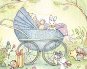 Baby in a blue buggy small 5 X 7 tea-cup sized print
