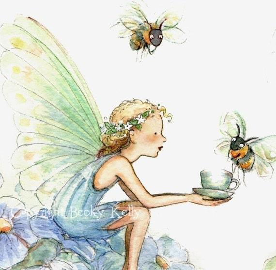 Afternoon Tea Party   ( Bumble Bee Tea )  Tea Cup Size Print    5 X 7