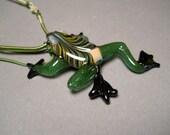 Frog Pendant Necklace Choker focal bead frog jewelry treefrog