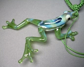 Hand blown hand made Glass Frog Pendant Necklace Choker
