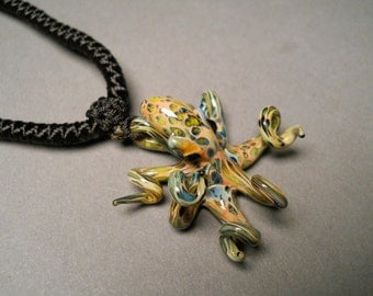 Hand blown Glass Octopus Pendant
