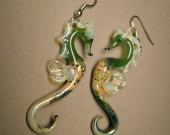 Glass Sea Horse Earrings