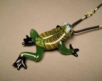 Frog Pendant with adjustable Black Silk Choker