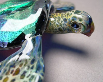 Sea Turtle Sculpture made with blue and green dichroic coloring in the glass shell