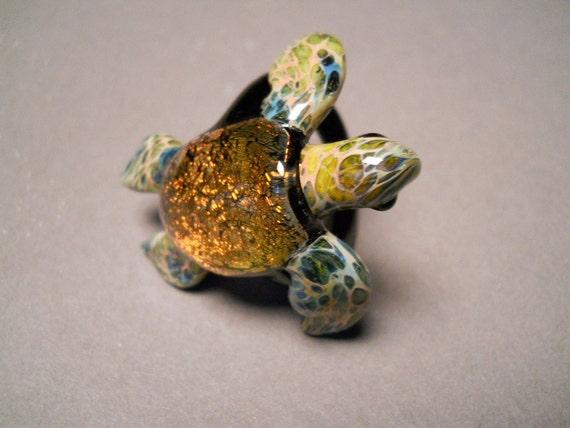 Sea Turtle Ring with Redish Orange Dichroic Coloring blown glass sea turtle