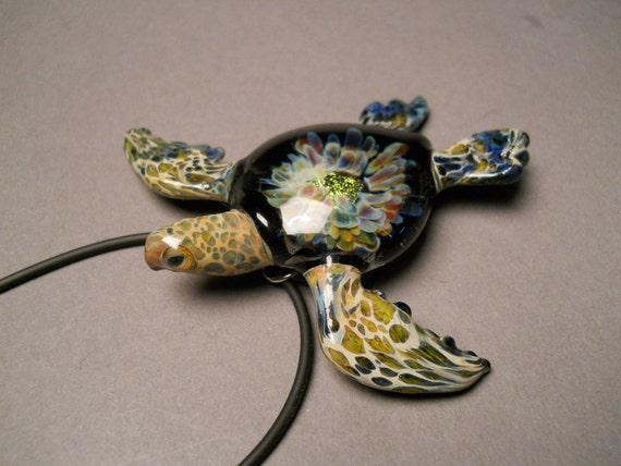 Glass Sea Turtle Jewelry Pendant, Tide pool series.