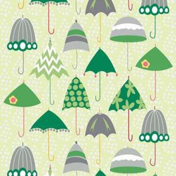 Riley Blake C4010 Green Rainy Days and Mondays Retro Umbrellas