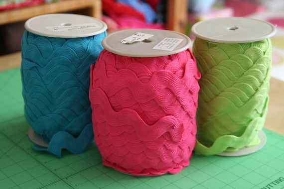 Bundle of Jumbo Ric Rac Fuschia, White, Lime, Turquoise -- 3 yds each, 12 yds total