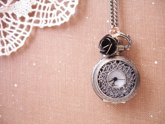 time for departure - brass filigree pocket watch charms necklace.