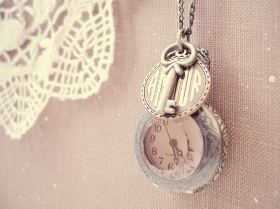 time for love - sweet antique brass pocket watch clock necklace.