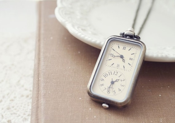 here comes the sun - a double clock antique brass pocket watch necklace.