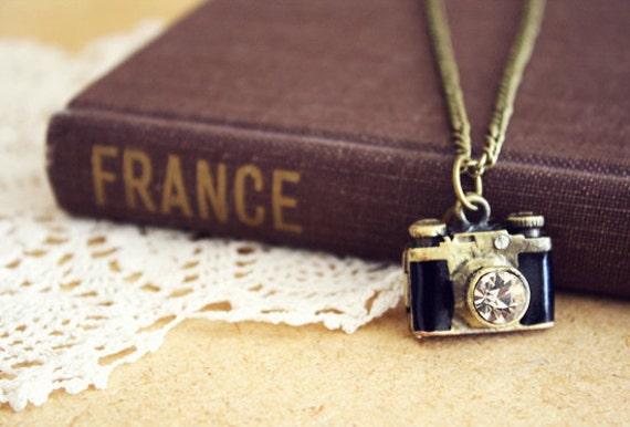 wishful - brass camera locket necklace.