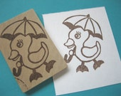 Spring Duck Hand Carved Rubber Stamp