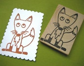 Fox Rubber Stamp Hand Carved