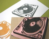 DJ Turntable Hand Carved Rubber Stamp