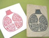 Pomegranate Fruit Hand Carved Rubber Stamp