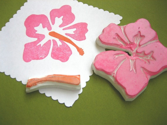 Hibiscus Flower Hand Carved Rubber Stamp, 2 part set