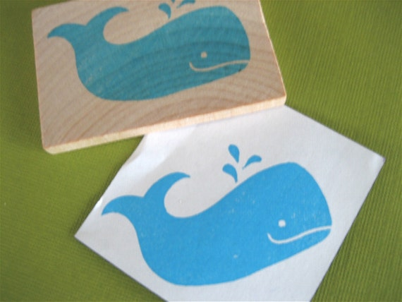 Whale Rubber Stamp Hand Carved