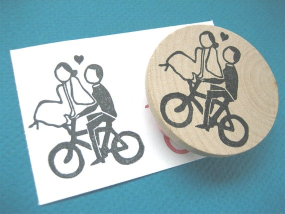 Bicycle wedding couple bride and groom on a bike rubber for Wedding dress rubber stamp