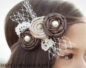 Vintage Inspired Rosette Headband in Shades of Mocha Brown with French Millinery Tulle, Pearls and Vintage Lace Infants, Babies or Adults